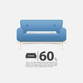 Sofa in flat design for living room interior. Minimal couch icon for furniture sale poster. Blue couch on white background. Royalty Free Stock Photo