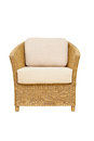 Sofa furniture weave bamboo chair on white Royalty Free Stock Photos