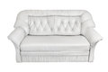 Sofa leather white on background Royalty Free Stock Photos
