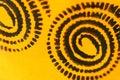 Sofia, Bulgaria - April 17, 2015: Closeup macro image shot of illustrated black spiral patterns on orange background