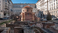 SOFIA, BULGARIA - DECEMBER 20 2016: The 4th century St. George Rotunda, behind some remains of Serdica, Sofia Royalty Free Stock Photo