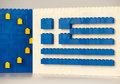 Sofia, Bulgaria - July 15, 2015: Plastic LEGO blocks formations, showing national flag of Greece with European Union symbol Royalty Free Stock Photo