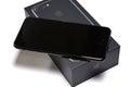 Sofia bulgaria october new apple iphone plus jet black unboxing on white background illustrative editorial Stock Photo