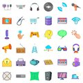 Soft application icons set, cartoon style Royalty Free Stock Photo