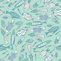 Soft blue pattern with fishes in a chaotic manner