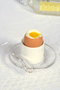 Soft boiled egg in holder top view of Royalty Free Stock Image