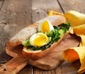 Soft-Boiled Egg sandwich with Green Salad and Mayonnaise Royalty Free Stock Photo