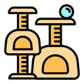 Soft cat play house icon, outline style Royalty Free Stock Photo