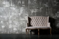 Soft chair one on dark grey background horizontal photo Stock Photo