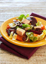 Soft cheese with vegetables salad and Stock Photo