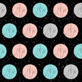 Soft circle on black seamless background. Grey, pink, blue circl Royalty Free Stock Photo