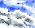 Soft clouds in blue sky for background. Watercolor techniques.