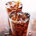 Soft drink being poured into glass Royalty Free Stock Photo