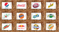 Soft drink brands and logos Royalty Free Stock Photo