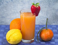 Soft drink with fruits selection Stock Image