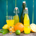 Soft drink, lemon fruits Royalty Free Stock Image