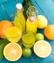 Soft drink, lemon fruits Stock Images