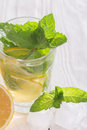 Soft drink with lemon ice and mint Royalty Free Stock Photos