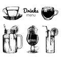 Soft drinks and glasses for bar,restaurant,cafe menu. Hand drawn beverages vector illustrations set,lemonade,coffee,tea.