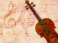 Soft grunge music background with violin Stock Photos