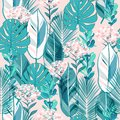Soft pastel botanical jungle leaves pattern, tropical seamless,