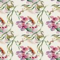 Soft pattern with watercolor flowers