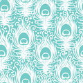 Soft peacock feathers vector seamless pattern background with hand drawn elements Stock Photo