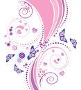 Soft pink floral ornament with swirls butterflies and hearts on white background Stock Photo