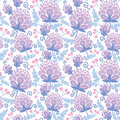 Soft purple flowers seamless pattern background vector with hand drawn elements Royalty Free Stock Photos
