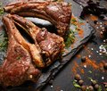 Soft rack of lamb gourmet dish Royalty Free Stock Photo