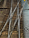 Soft a railroad rails on symbolic photo for decision separation and community Royalty Free Stock Images