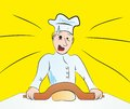 Soft rolling pin for dough chef is surprised with Royalty Free Stock Images