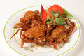 Soft shell crab with garlic and pepper Royalty Free Stock Photo
