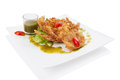 Soft shell crab salad isolated on white Royalty Free Stock Image