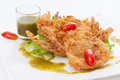 Soft shell crab salad isolated on white Royalty Free Stock Photos