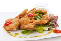Soft shell crab salad isolated on white Royalty Free Stock Photo