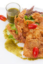 Soft shell crab salad on white Stock Photo