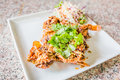 Soft shell crab spicy with salad Royalty Free Stock Photography