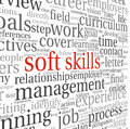 Soft skills concept on white in word tag cloud Royalty Free Stock Images