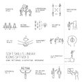 Soft skills icons and pictograms set of human skills linear in business teamwork black on white background Stock Photos