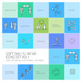 Soft skills linear icons and pictograms set black on colorful background Royalty Free Stock Photography