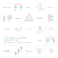 Soft skills  linear icons and pictograms set blue and red Royalty Free Stock Photo