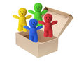 Soft toy dolls in cardboard box on white background Stock Photos