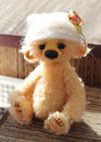 Soft toy teddy bear in knitted cap sitting in the sunlight Stock Photography