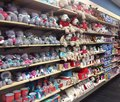 Soft toys display in a store including bears on sale toy shop Royalty Free Stock Photos