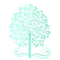 Soft watercolor tree multil colors of teal with leaves Stock Image