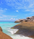 The soft white sand beach pile of huge rocks and picturesque shores of magical similan islands Royalty Free Stock Photos
