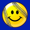 Softball Ball Smiling Face Image Stock Photos