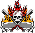 Softball Baseball Skull and Bats Flaming Template Stock Images