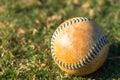 Softball Close Up on Field Royalty Free Stock Photo